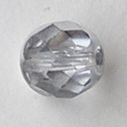 Facet geslepen Glaskraal. Crystal met silvercoat. 8mm. Tsjechisch.