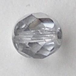 Facet geslepen Glaskraal. Crystal met silvercoat. 8mm. Tsjechisch.