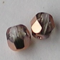 Facet geslepen Glaskraal. Half Crystal Copper. 6mm. Tsjechisch.