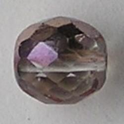 Facetgeslepen Glaskraal. Half crystal met Coppercoating . 10mm. Tsjechisch.