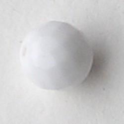 Facet geslepen Glaskraal. Wit opaque. 8mm. Tsjechisch