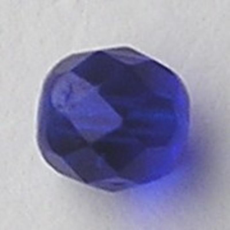 Facet geslepen Glaskraal. Kobaltblauw. 6mm. Tsjechisch.