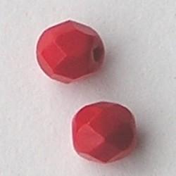 Rood Opaque. Facetgeslepen Glaskraal. 6mm.