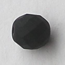 Facet geslepen Glaskraal. Zwart Mat. 8mm. Tsjechisch.