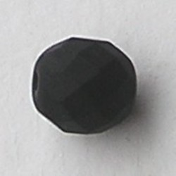 Facet geslepen Glaskraal. Zwart Mat. 10mm. Tsjechisch.