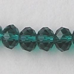 Emerald. Facetgeslepen Glaskraal. Rondelle. 5x8mm.