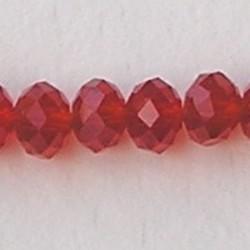 Indian Red. Facetgeslepen Glaskraal. Rondelle. 9x12mm.