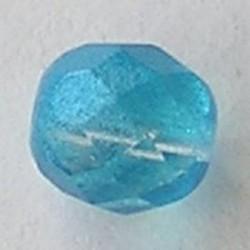 Ocean Blue Special Luster. Facetgeslepen Glaskraal. 10mm.