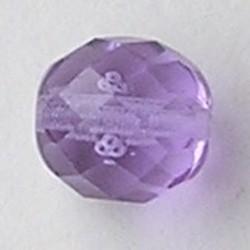 Lila Transparant Facetgeslepen Glaskraal. 12mm.