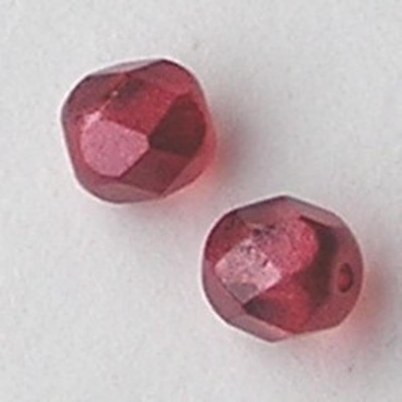 Berry Red Special Luster. Facetgeslepen Glaskraal. 6mm. Per stuk voor