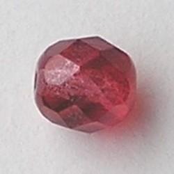 Berry Red Special Luster. Facetgeslepen Glaskraal. 8mm. Per stuk