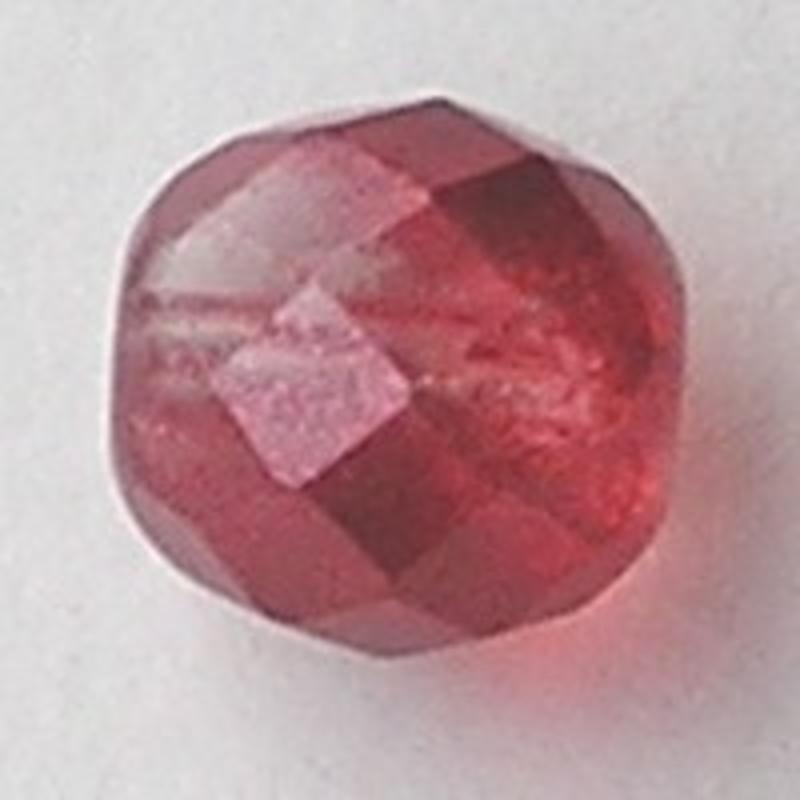 Berry Red Special Luster. Facetgeslepen Glaskraal. 10mm. Per stuk voor