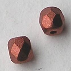 Tsjechisch Facetgeslepen Glaskraal. 4mm. Copper Zijdeglans. 10 stuks voor