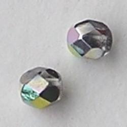 Facet geslepen Glaskraal. Crystal Vitrail Medium. 4mm. Tsjechisch. 10 stuks voor.