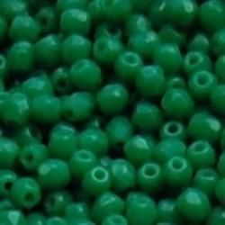 Facet Geslepen Glaskraal. Groen Opaque. 3mm. (Tsjechisch). 10 stuks voor