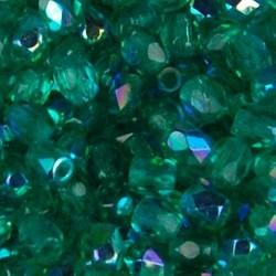 Facet Geslepen Glaskraal. Light Emerald AB. 3mm. (Tsjechisch). 10 stuks voor