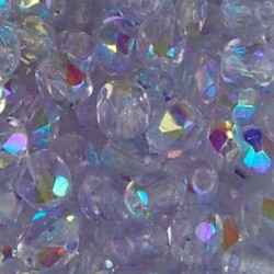 Facet Geslepen Glaskraal. Violet AB. 4mm. Tsjechisch. 10 stuks voor