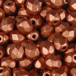 Facet Geslepen Glaskraal. Light Mat Copper. 4mm. Tsjechisch. 10 stuks voor