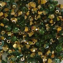 Tsjechisch Konisch Geslepen Glaskraal. 3mm. Aquamarine Brass.