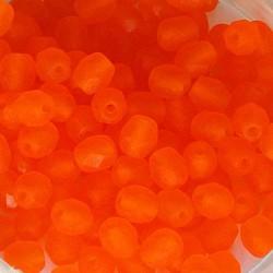 Facet Geslepen Glaskraal. Mat Oranje. 4mm. Tsjechisch. 10 stuks