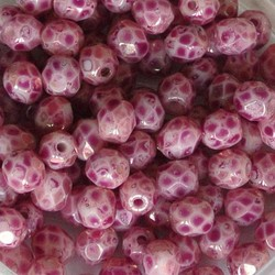 Facet Geslepen Glaskraal. Roze Marmer. 4mm. Tsjechisch. 10 stuks