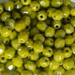 Facet Geslepen Glaskraal. Pea Green Luster. 4mm. Tsjechisch. 10 stuks