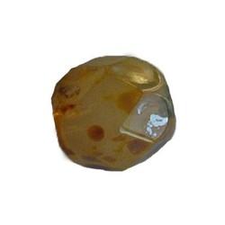 Facet geslepen Glaskraal. Tan opal gemeleerd. 8mm. Tsjechisch.