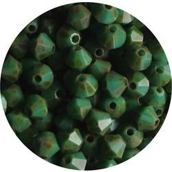 Tsjechisch Konisch Geslepen Glaskraal. 4mm. Green Travertin.
