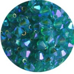 Tsjechisch Konisch Geslepen Glaskraal. 4mm. Blue Zircon 2xAB.