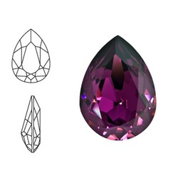 SWAROVSKI ELEMENTS Swarovski Druppel. Amethyst. 14x10mm. Pointed Back.