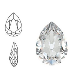 SWAROVSKI ELEMENTS Swarovski Druppel. (groot). Crystal. 14x10mm. Pointed Back.