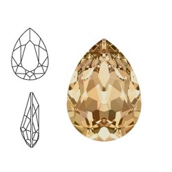 SWAROVSKI ELEMENTS Swarovski Druppel. (groot). Crystal Golden Shadow. 14x10mm. Pointed Back.