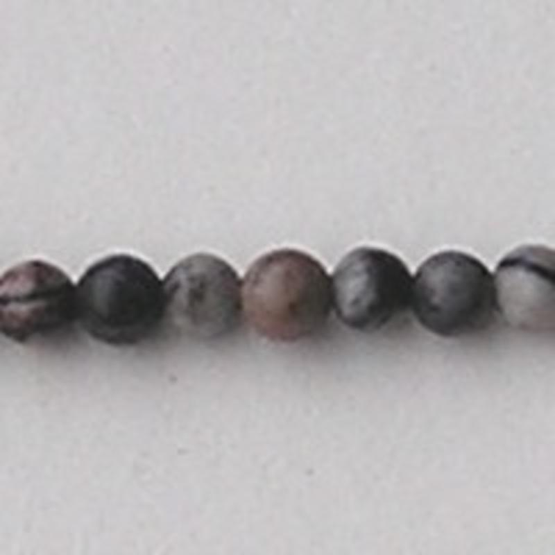 Black Silk Stone (natural) 4mm. kraal.