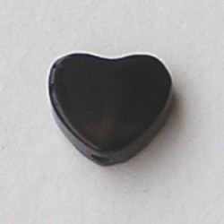 Black Agaat (natural) 10mm. Kraal Hartje.