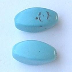 Turguoise (Natural Dyed) 9x18mm. kraal. Ovaalvormig Hoekig.