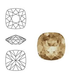 SWAROVSKI ELEMENTS Swarovski Vierkant. 4470-10mm. Crystal Golden Shadow. Pointed Back.