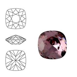 SWAROVSKI ELEMENTS Swarovski Vierkant. 4470-10mm. Crystal Antique Pink. Pointed Back.
