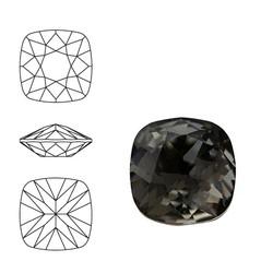 SWAROVSKI ELEMENTS Swarovski Vierkant. 4470-10mm. Black Diamond. Pointed Back.