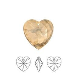 SWAROVSKI ELEMENTS Crystal Golden Shadow Pendant Hartje. 14.4x14mm. met gaatje bovenin