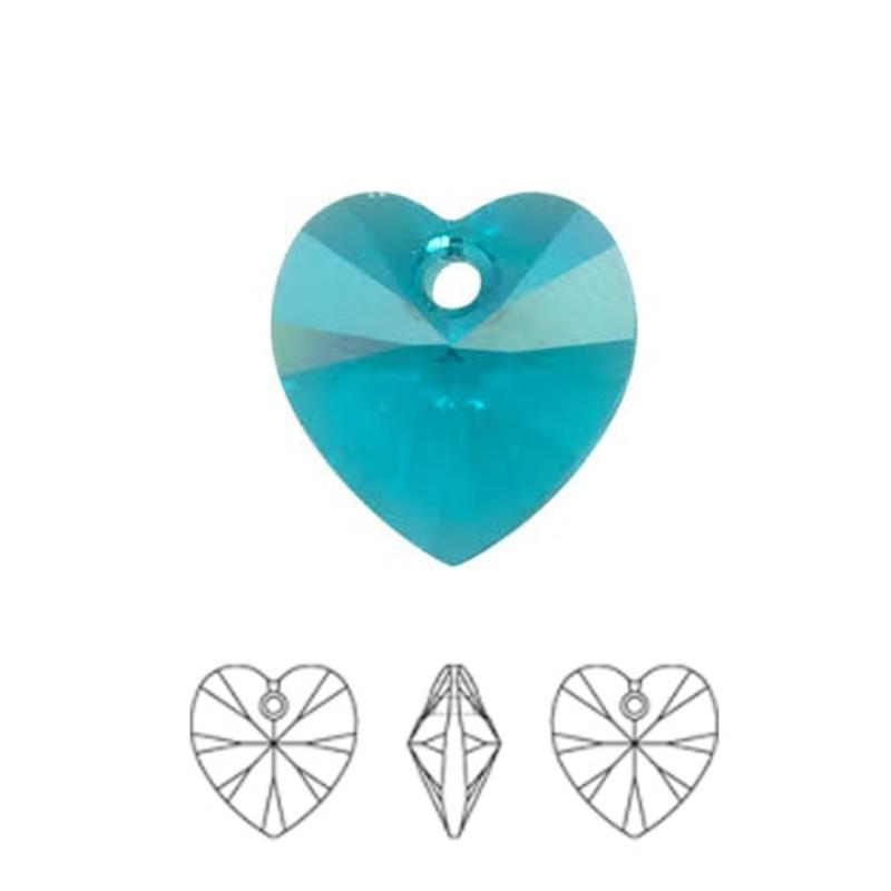 SWAROVSKI ELEMENTS Blue Zircon Pendant Hartje. 10.3x10mm. met gaatje bovenin