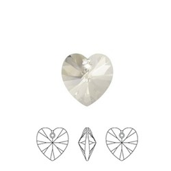 SWAROVSKI ELEMENTS Crystal Silver Shade Pendant Hartje. 10.3x10mm. met gaatje bovenin.