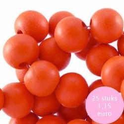 Houten kraal. 10mm. Oranje.
