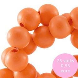 Houten kraal. 8mm. Orange.