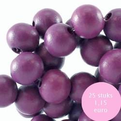 Houten kraal. 10mm. Flint Purple.