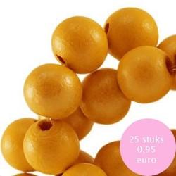 Houten kraal. 8mm. Citrus Geel.