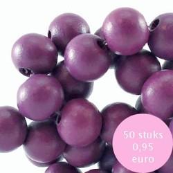 Houten kraal. 6mm. Flint Purple.