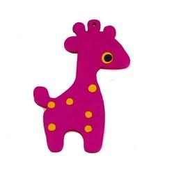 Houten hanger Giraf. 28x50mm. Fuchsia.
