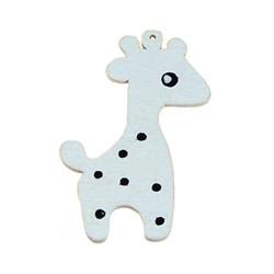 Houten hanger Giraf. 28x50mm. Wit.