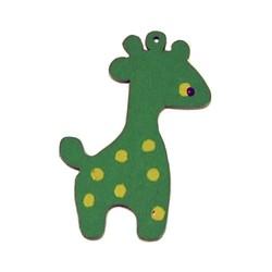 Houten hanger Giraf. 28x50mm. Groen.