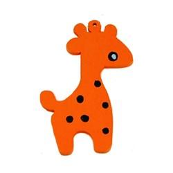 Houten hanger Giraf. 28x50mm. Oranje.
